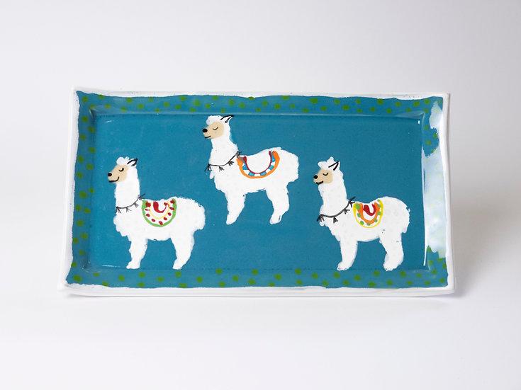 Platte mit Lama blau