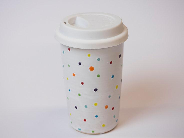 Coffee to go - weiß mit Punkten