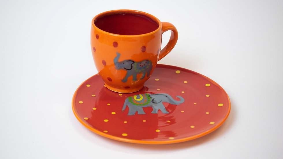 Set - Tasse + Teller Elefanten