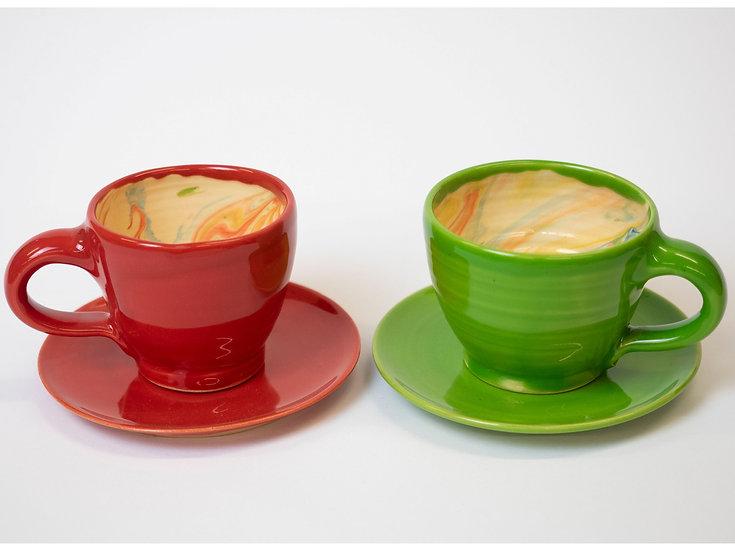 Espresso-Set, marmoriert