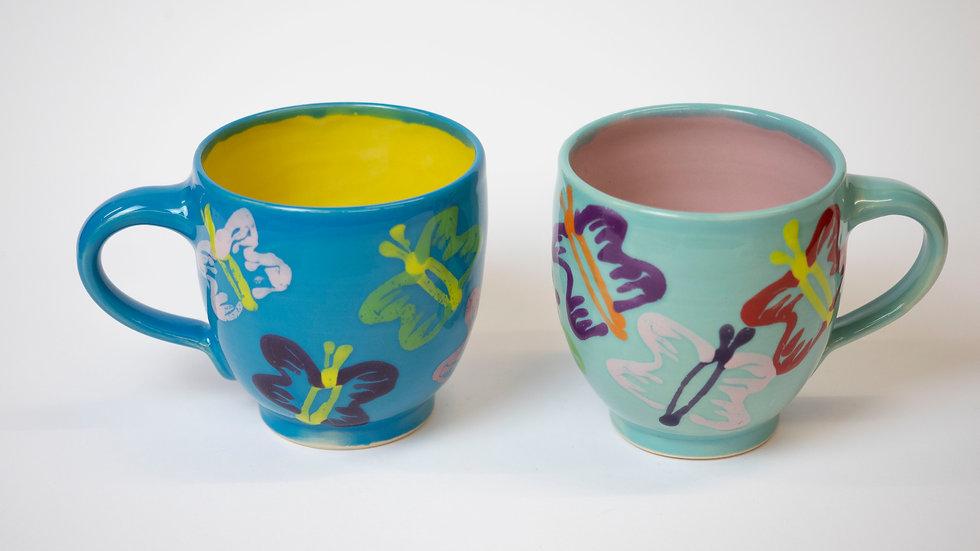 Set - zwei Schmetterling-Tassen