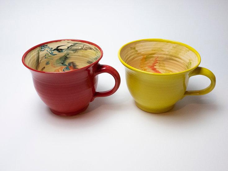 2 Tassen marmoriert gelb / rot
