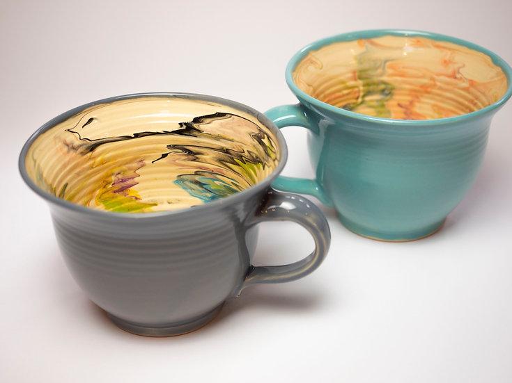 2 Tassen marmoriert - grau / aquarius