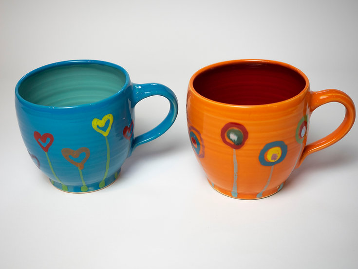 2 XL Tassen - orange & pfauenblau