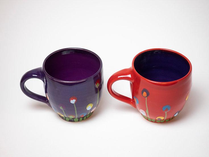 Zwei Tassen - Wiese (rot & lila)
