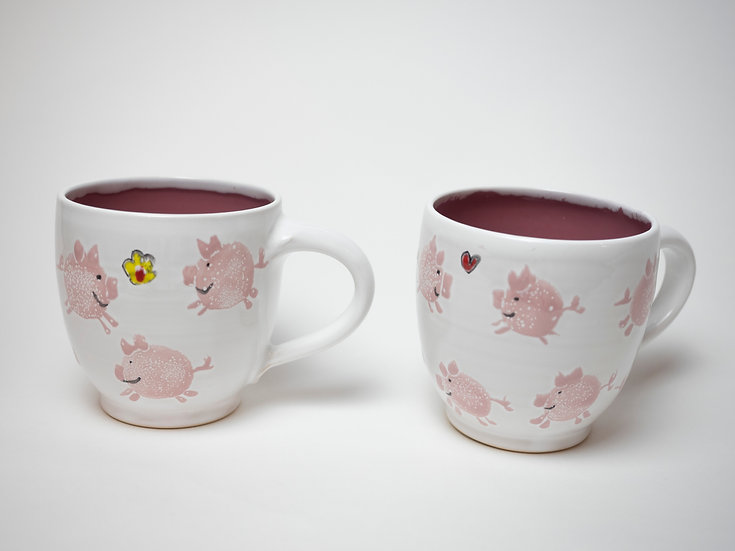 Zwei Tassen - Schweine (dunkelrosa)