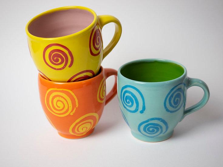 Set - 3 Tassen mit Spiralen