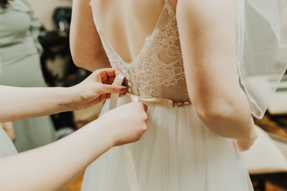 bride dress getting ready details