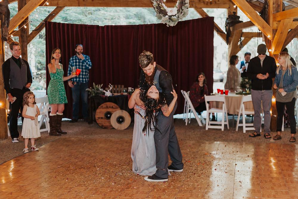 forest wedding reception in idaho
