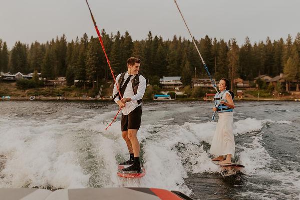 wakesurfing adventure bridals in idaho, karlie larson photography, idaho and pacific northwest adventure elopement photographer