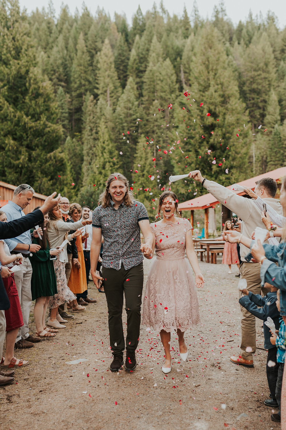 confetti exit mountain wedding