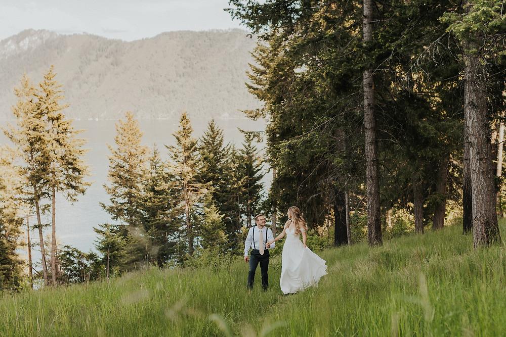 summer elopement bridals in north idaho mountains lake adventure