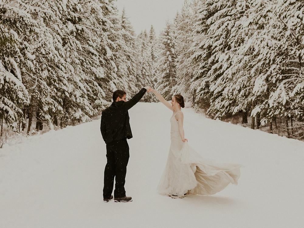winter elopement bridals in idaho