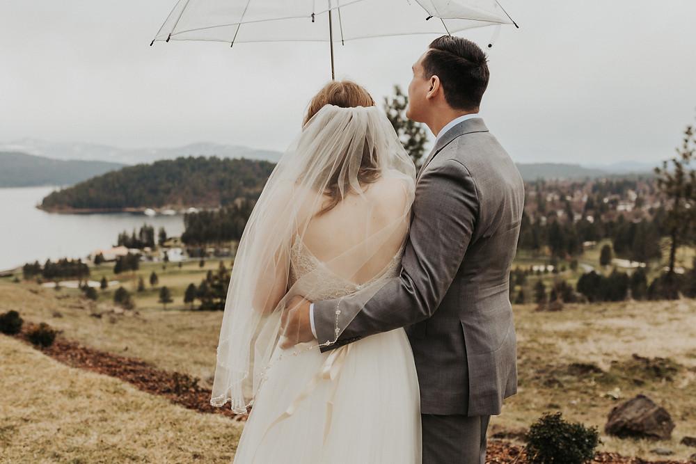 rainy day elopement umbrella bridals