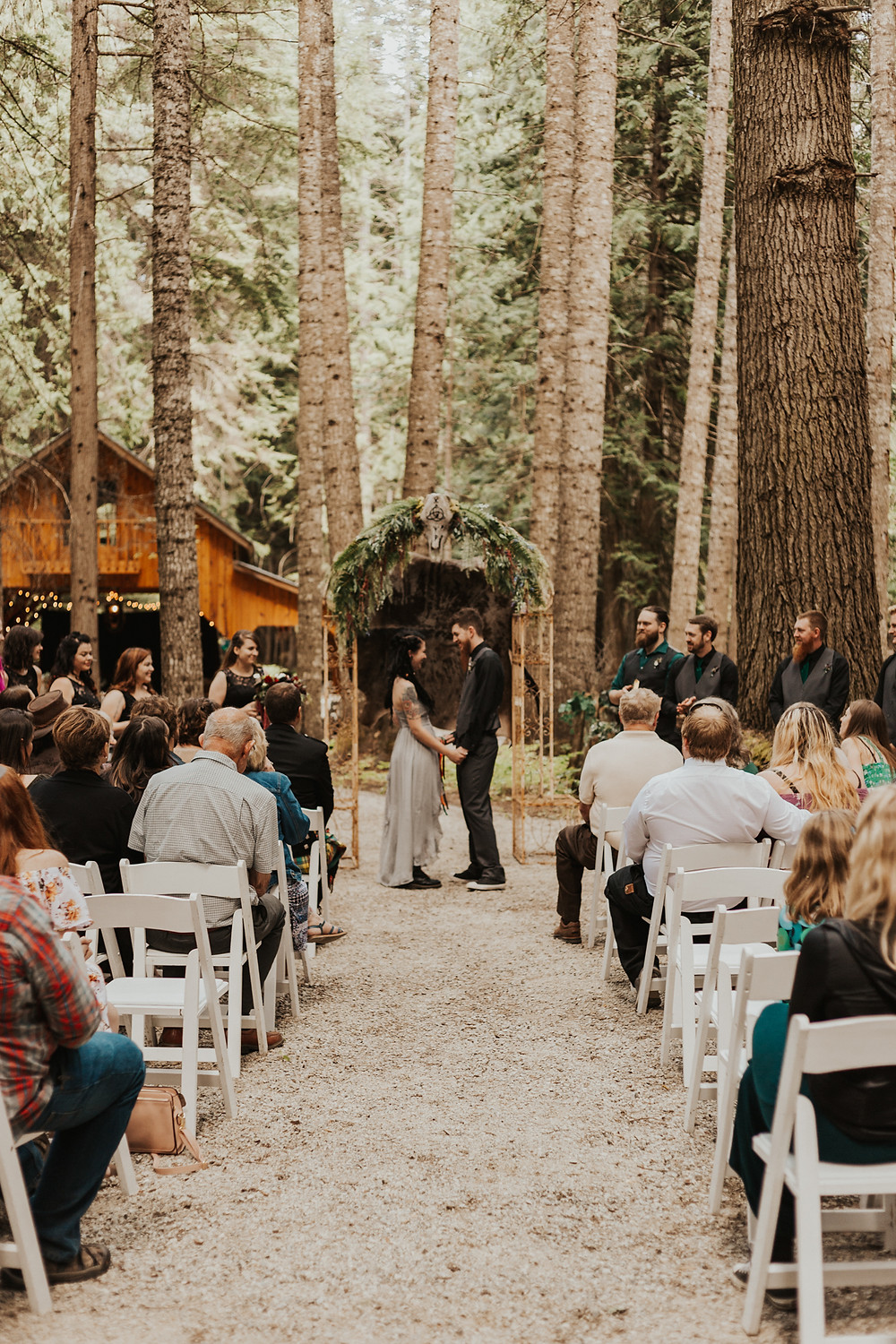 forest wedding ceremony in idaho