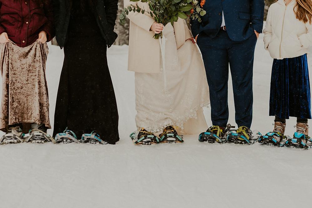 winter wonderland elopement in mccall idaho snowshoes