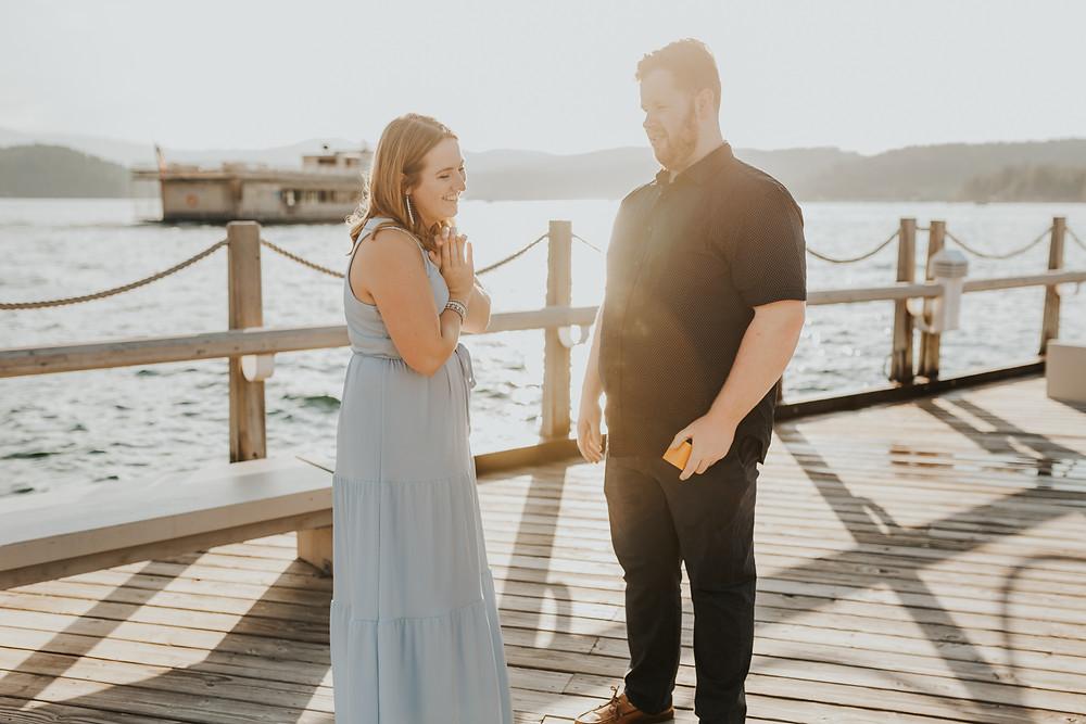 North Idaho Proposal Surprise on Coeur d'Alene Boardwalk