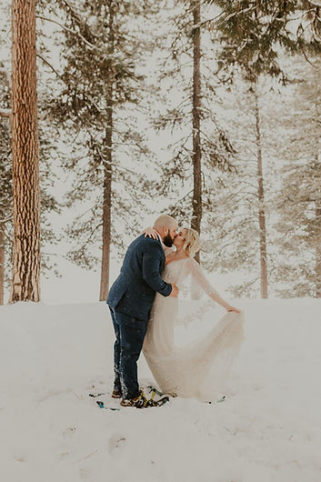 winter adventure elopement in mccall idaho, bridals in the snow, snowshoe bridals. karlie larson photography idaho and pacific northwest adventure elopement photographer