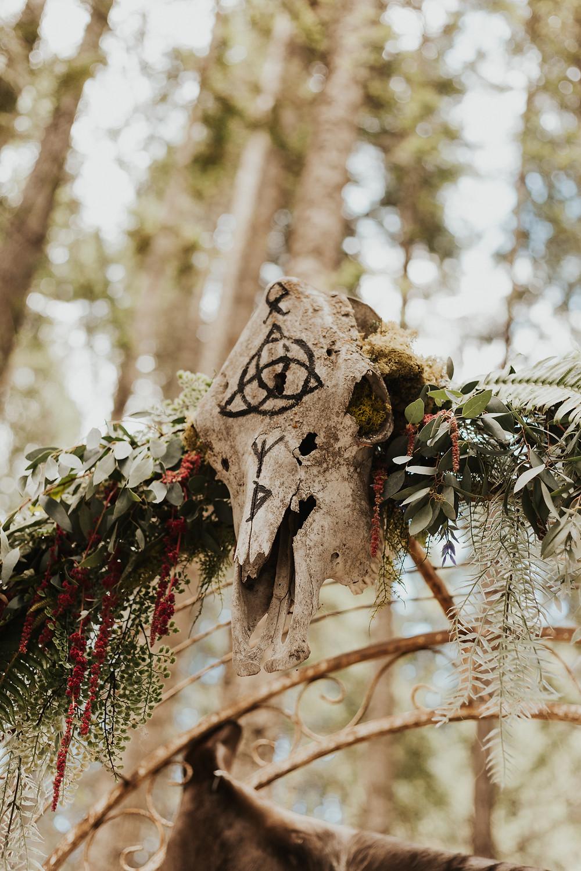 forest wedding ceremony setup