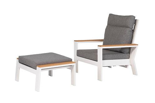 Valerie Lounge Adjustable Armchair White + Footstool