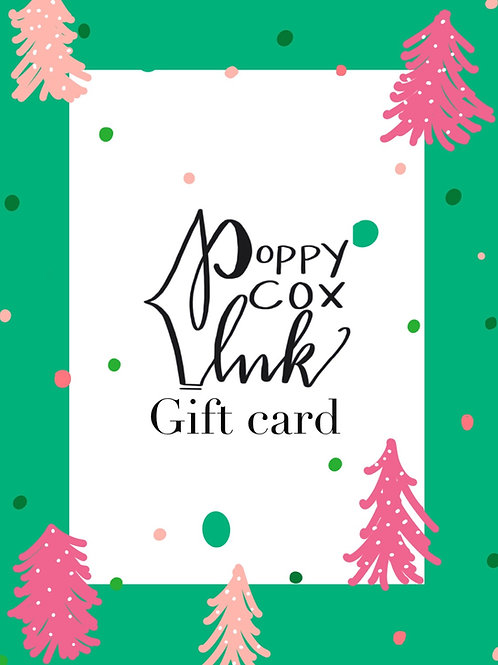 PoppyCox Ink Gift card - $25