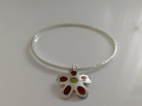 Solid sterling silver bangle with a flower plique-a-joir charm