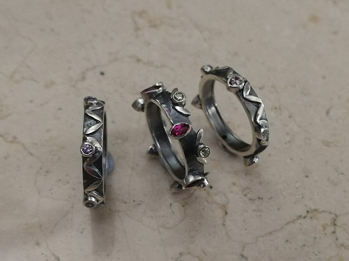 A set of 3 stackable sterling silver 925 rings with CZ