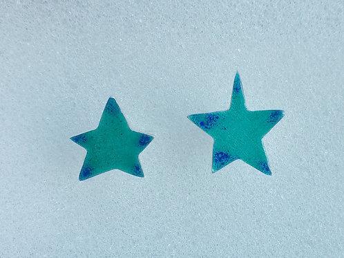 Enameled sterling silver blue star stud earrings