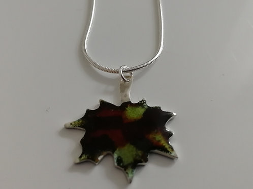 Enameled sterling silver maple leaf pendant with a chain