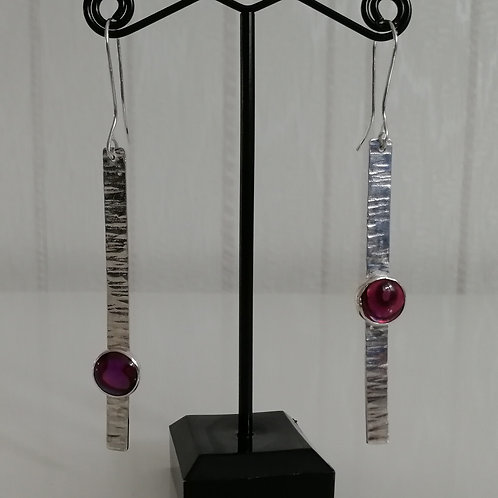 Hammered long sterling silver earrings with pink shell