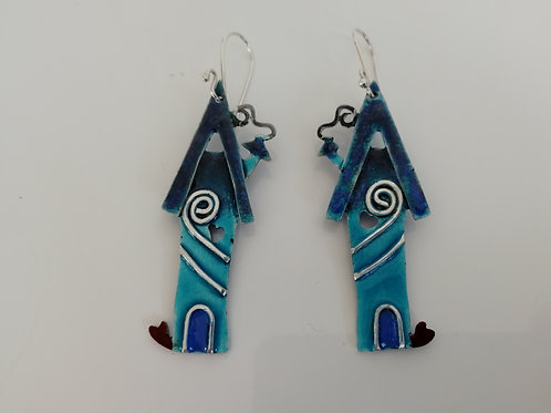 Sterling silver enameled blue house earrings