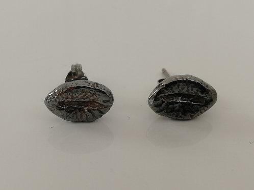 Blackened sterling silver coffee bean stud earrings