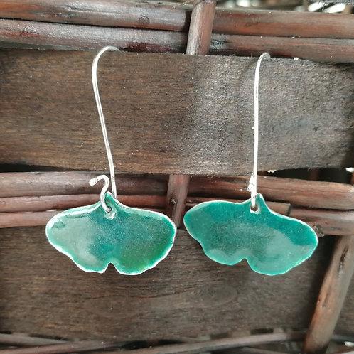 Enameled sterling silver ginkgo biloba earrings