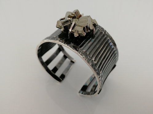 Solid blackened sterling silver bangle with pyrite