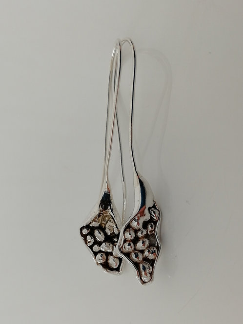 Long sterling silver earrings with tiny organic balls