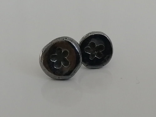 Rustic recycled blackened sterling silver circle stud earrings with flowers