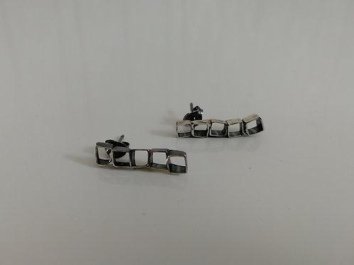 Geometrical blackened sterling silver stud earrings