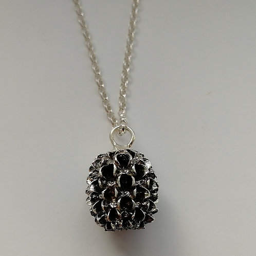 Solid blackened sterling silver Thai cone pendant with a chain