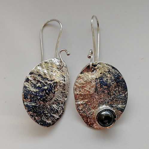 Sterling silver honesty earrings with hematite