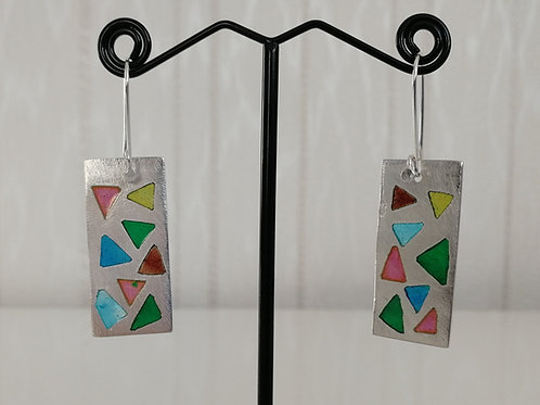 Rectangular sterling silver 925 plique-a-jour earrings