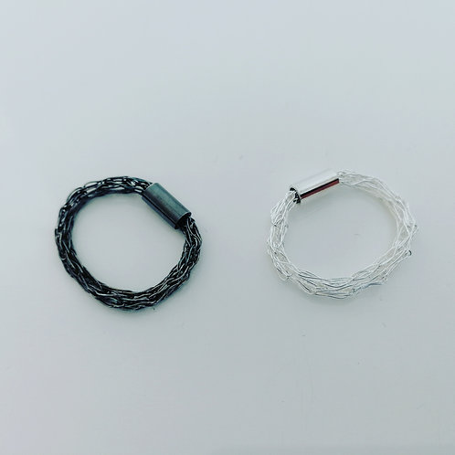Two sterling silver Viking weave rings