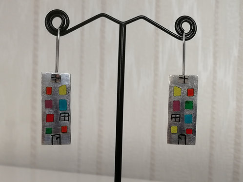 Sterling silver house earrings with plique-a-joir windows