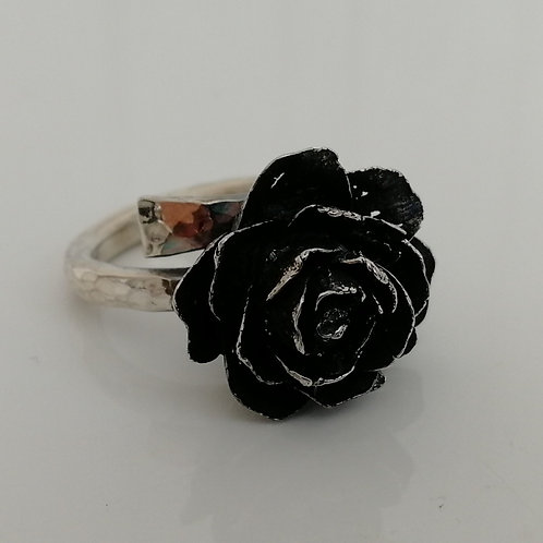Solid blackened sterling silver 925 cone ring