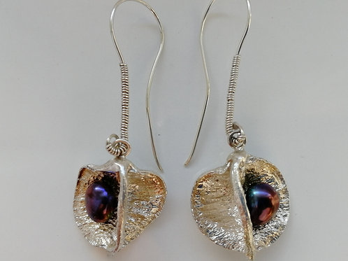 Sterling silver apple earrings with a pearl