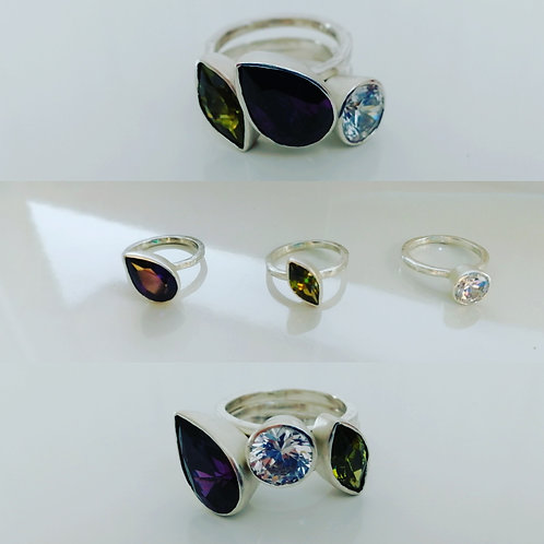 A set of 3 stacking rings with large CZ