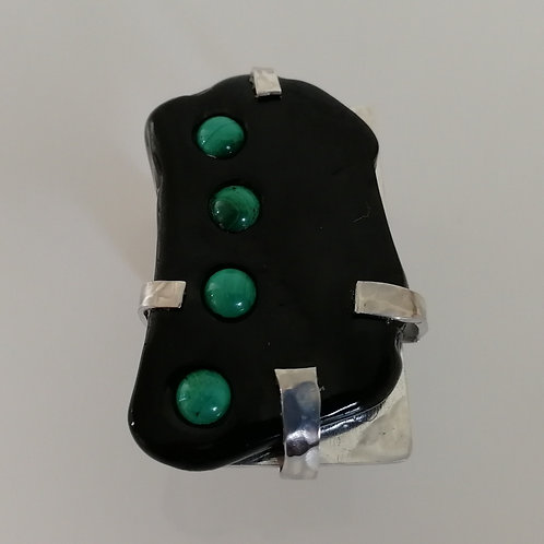 Sterling silver 925 ring with Whitby Jet and malachite inlay