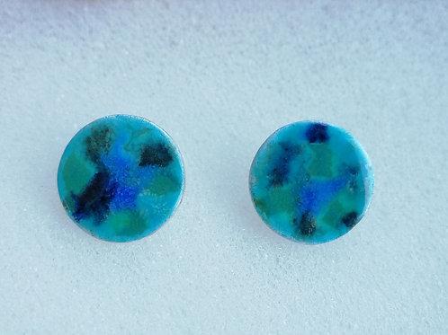 Enameled sterling silver circle stud earrings