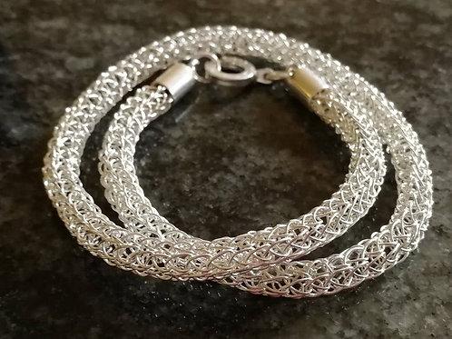 Double sterling silver Viking weave bracelet