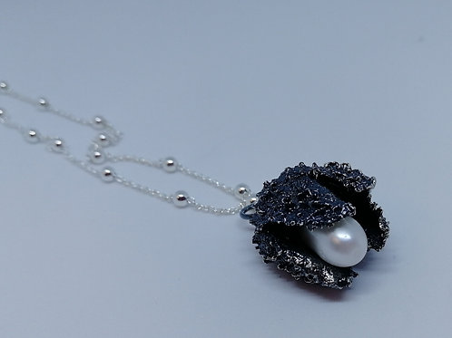Solid sterling silver cone necklace with a pearl