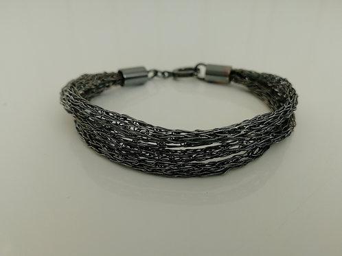 Blackened sterling silver Viking weave bracelet